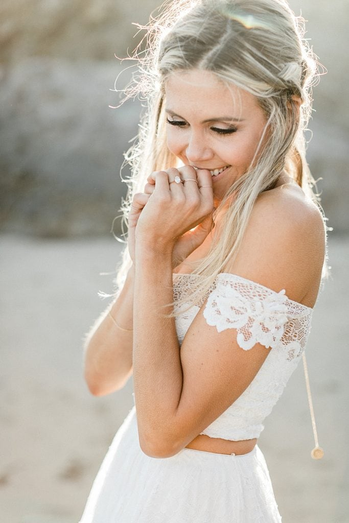 Boho elopement wedding inspiration in Malibu | Grace Loves Lace 2 piece dress with Hadley Frances Jewelry