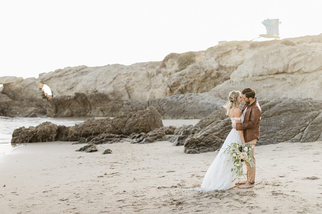 Leo Carrillo State Beach Wedding at sunset in April | Malibu Elopement Photographer
