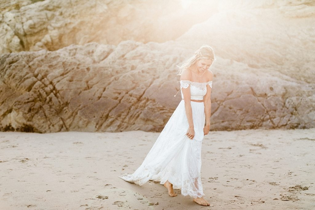 Grace Loves Lace 2 piece boho wedding dress at elopement in Malibu