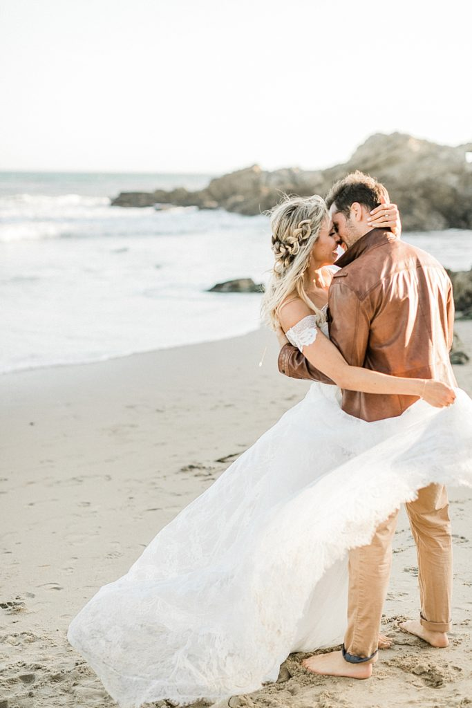 Malibu Beach Elopement at sunset in the spring