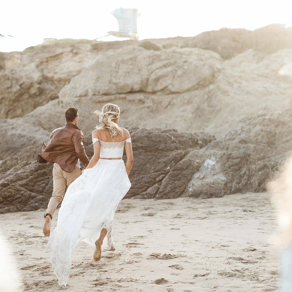 Boho beach elopement in Malibu, CA