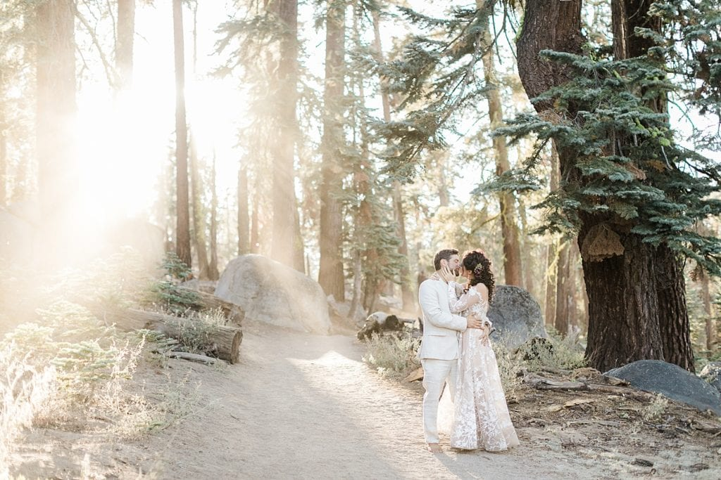 Elopement couple kissing in the forest of Yosemite National Park